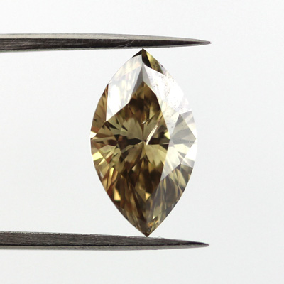 Fancy Dark Brown Greenish Yellow Diamond, Marquise, 2.03 carat - B