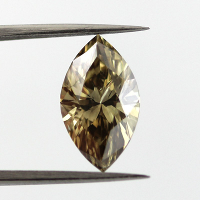 Fancy Dark Brown Greenish Yellow Diamond, Marquise, 2.03 carat