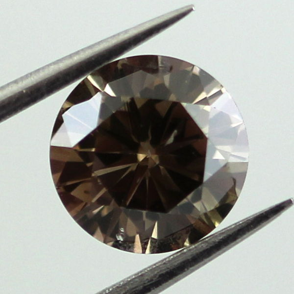 Fancy Dark Brown Diamond, Round, 0.87 carat, I1