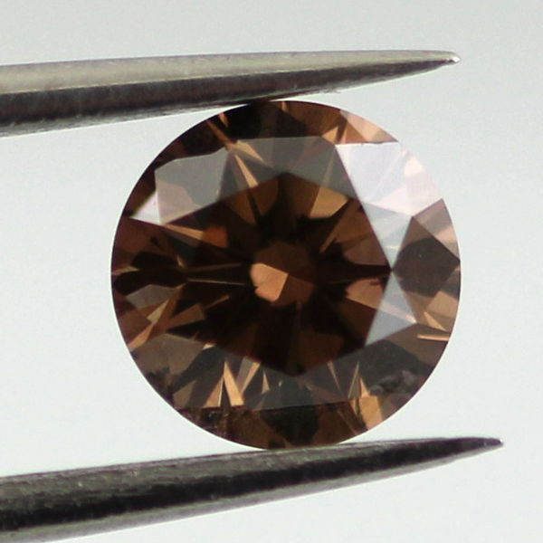 Fancy Dark Brown Diamond, Round, 0.52 carat, SI2 - B