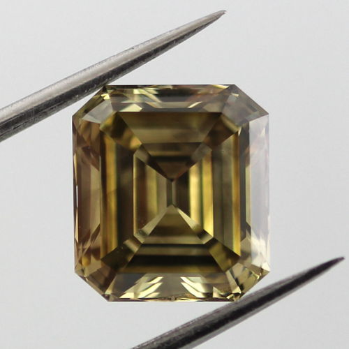 Fancy Dark Gray Greenish Yellow Diamond, Emerald, 3.02 carat, SI1