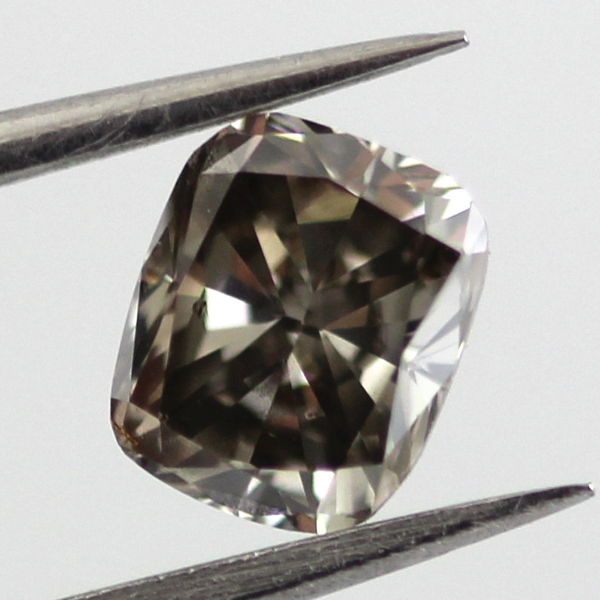 Fancy Dark Gray Diamond, Cushion, 0.76 carat