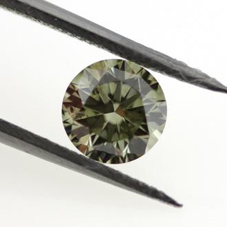 Fancy Dark Greenish Gray Chameleon Diamond, Round, 0.70 carat