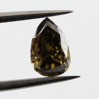 Fancy Dark Greenish Yellow Brown Diamond, Pear, 0.44 carat, SI1