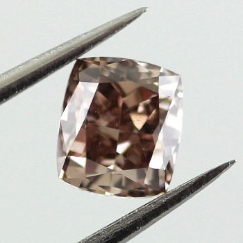 Fancy Dark Orange Brown Diamond, Cushion, 0.67 carat - Thumbnail