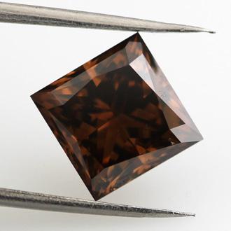 Fancy Dark Orangy Brown Diamond, Princess, 3.09 carat, SI2