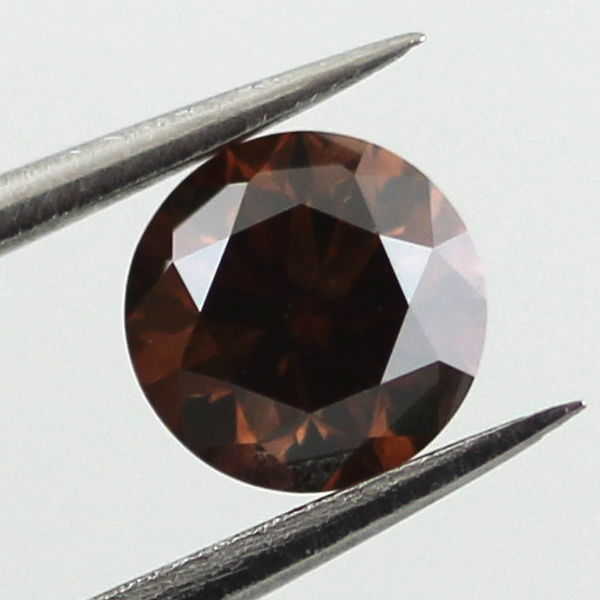 Fancy Dark Orangy Brown Diamond, Round, 0.50 carat, VS2