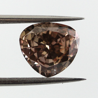Fancy Dark Pinkish Brown Diamond, Heart, 1.19 carat