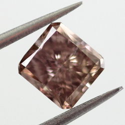 Fancy Dark Pinkish Brown Diamond, Princess, 0.77 carat, SI1 - Thumbnail