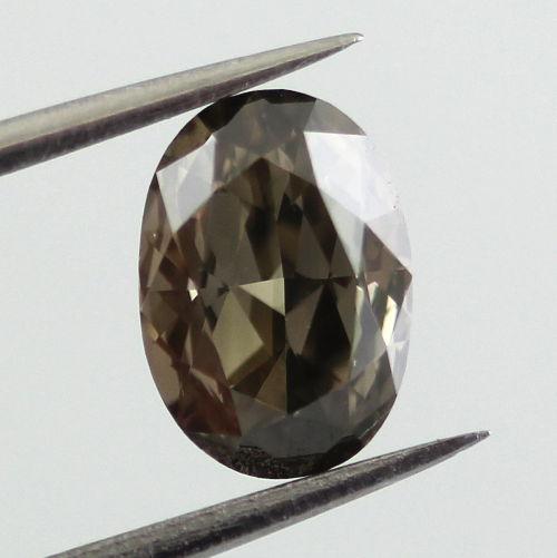 Fancy Dark greenish Gray Diamond, Oval, 0.70 carat, VS1