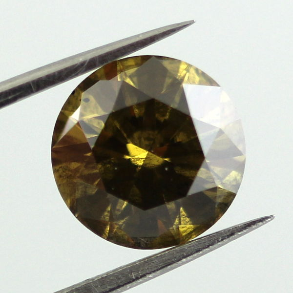 Fancy Deep Brown Greenish Yellow Diamond, Round, 2.13 carat - B
