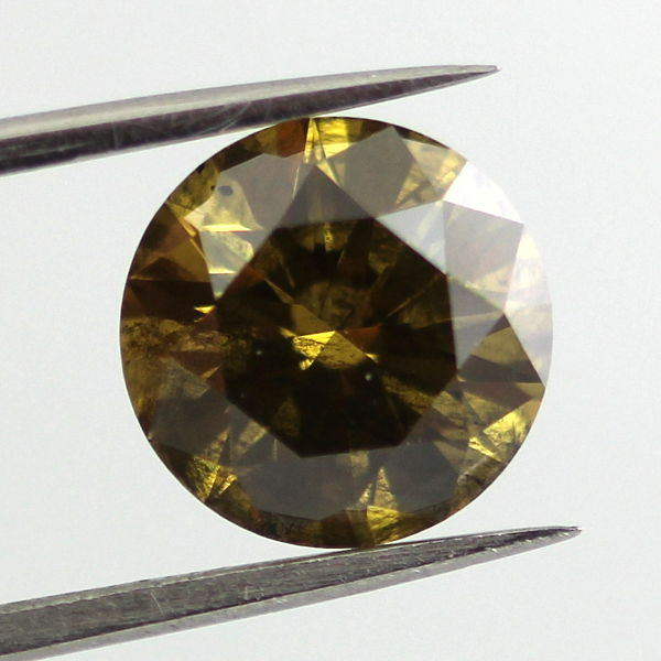 Fancy Deep Brown Greenish Yellow Diamond, Round, 2.13 carat