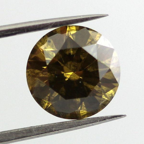 Fancy Deep Brown Greenish Yellow Diamond, Round, 2.13 carat