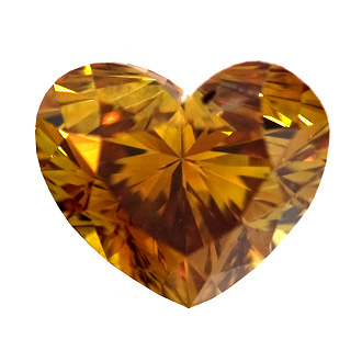Fancy Deep Brown Orange Diamond, Heart, 1.08 carat, SI2