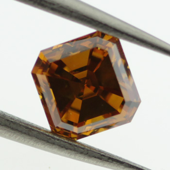 Fancy Deep Brown Orange Diamond, Asscher, 1.01 carat, SI1