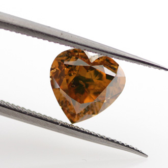 Fancy Deep Brown Orange Diamond, Heart, 1.76 carat