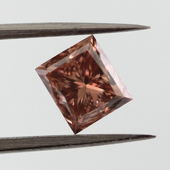 Fancy Deep Brown Pink Diamond, Princess, 0.98 carat