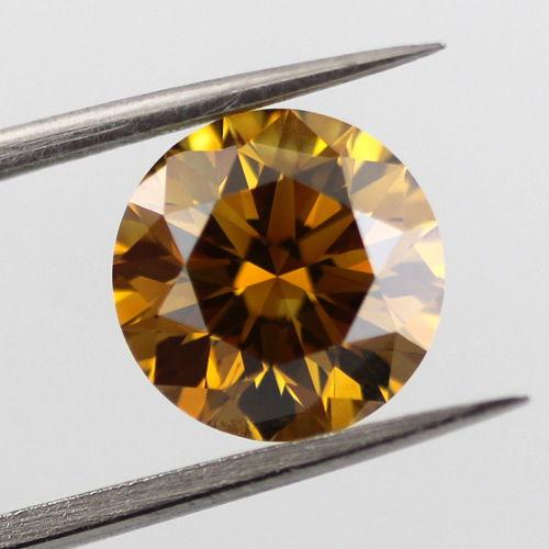 Fancy Deep Brown Yellow Diamond, Round, 2.02 carat, VS2