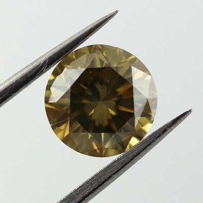 Fancy Deep Brownish Greenish Yellow Diamond, Round, 1.09 carat, SI2