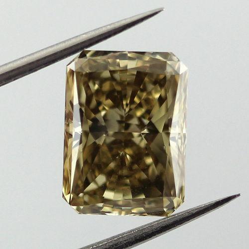 Fancy Deep Brownish Greenish Yellow Diamond, Radiant, 3.02 carat, SI1