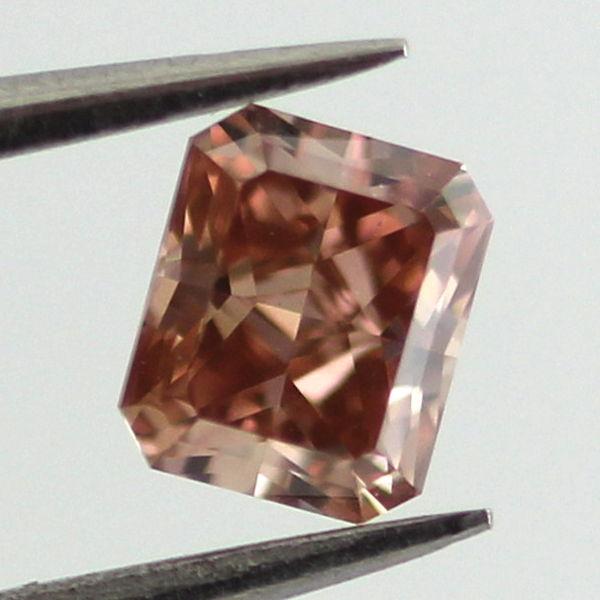 Fancy Deep Brownish Orangy Pink Diamond, Radiant, 0.35 carat, VS1
