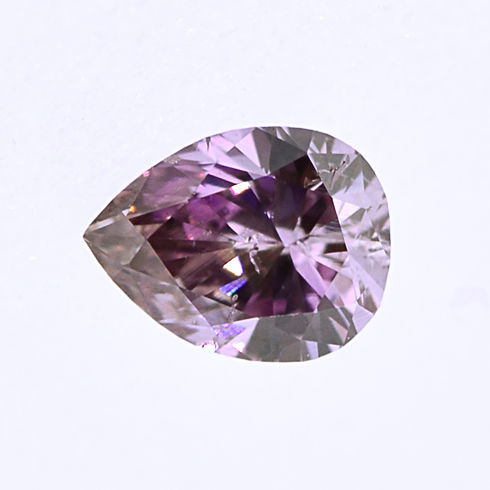 Fancy Deep Brownish Purple Pink Diamond, Pear, 0.14 carat, SI2