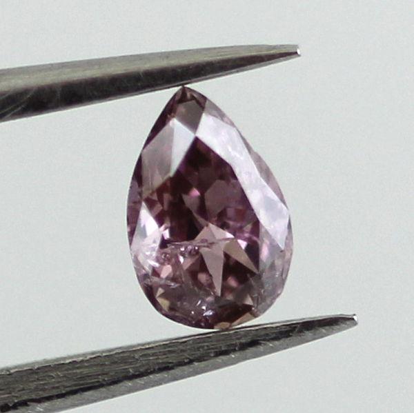 Fancy Deep Brownish Purple Pink Diamond, Pear, 0.16 carat