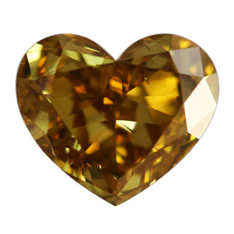 Fancy Deep Brownish Yellow Diamond, Heart, 1.06 carat, SI1