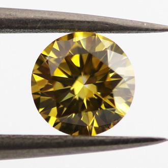 Fancy Deep Brownish Yellow Diamond, Round, 0.63 carat, VS1