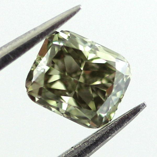 Fancy Deep Grayish Yellowish Green Chameleon Diamond, Radiant, 0.34 carat