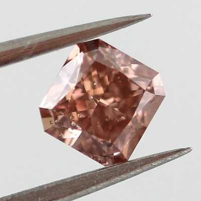 Fancy Deep Orangy Pink Diamond, Radiant, 0.49 carat, SI2