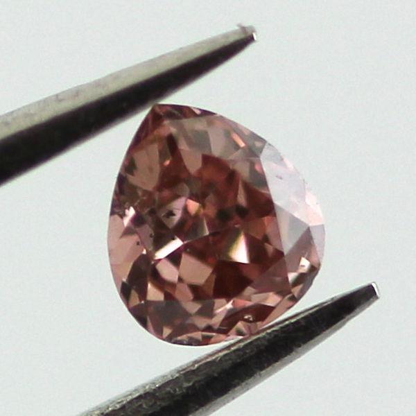Fancy Deep Orangy Pink Diamond, Pear, 0.07 carat