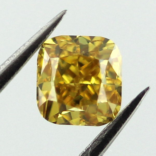 Fancy Deep Orangy Yellow Diamond, Cushion, 0.41 carat