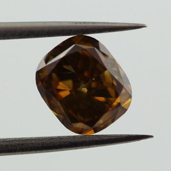 Fancy Deep Yellow Brown Diamond, Cushion, 0.71 carat, SI2 - B