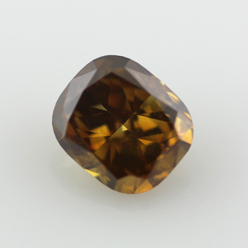 Fancy Deep Yellow Brown Diamond, Cushion, 0.71 carat, SI2