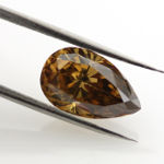 Fancy Deep Yellow Brown Diamond, Pear, 2.01 carat - Thumbnail