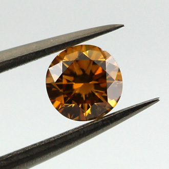 Fancy Deep Yellow Orange Diamond, Round, 0.33 carat, SI2