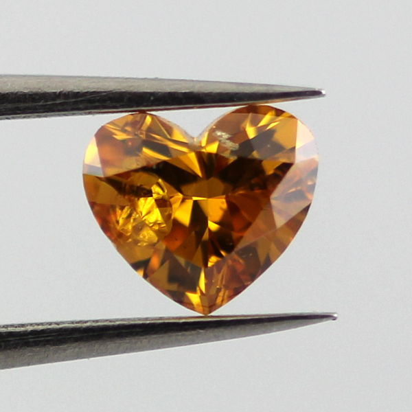 Fancy Deep Yellow Orange Diamond, Heart, 0.22 carat, I1