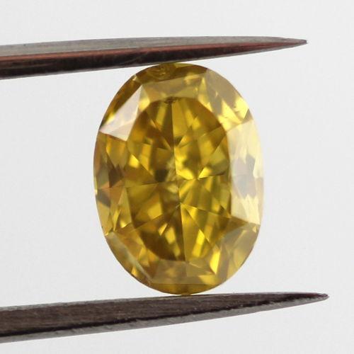 Fancy Deep Yellow Diamond, Oval, 1.08 carat