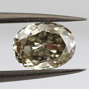 GIA Oval Fancy Gray Greenish Yellow Diamond, 1.31 carat