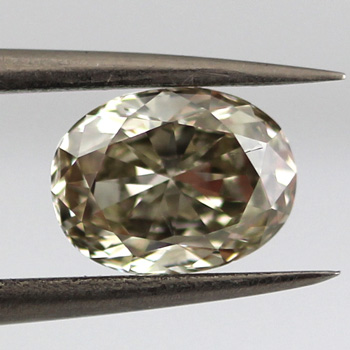 Fancy Gray Greenish Yellow Diamond, Oval, 1.31 carat, SI1
