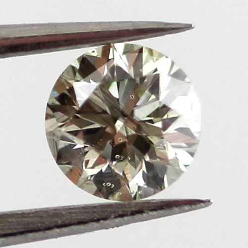 Fancy Gray Yellowish Green Chameleon Diamond, Round, 0.30 carat, I1