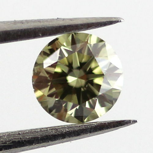 Fancy Grayish Yellowish Green Chameleon Diamond, Round, 0.19 carat, I1