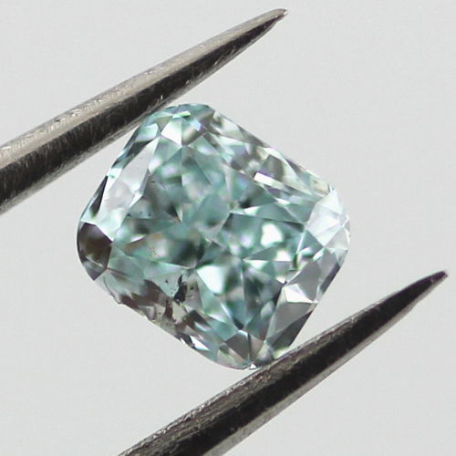 Fancy Intense Blue Green Diamond, Radiant, 0.30 carat, SI2