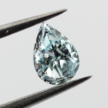 Fancy Intense Green Blue Diamond, Pear, 0.22 carat, SI2- C