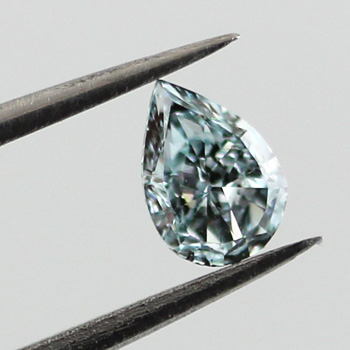 Fancy Intense Green Blue Diamond, Pear, 0.22 carat, SI2