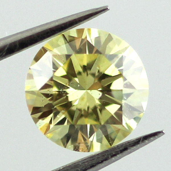 Fancy Intense Greenish Yellow Diamond, Round, 0.58 carat, SI2 - B