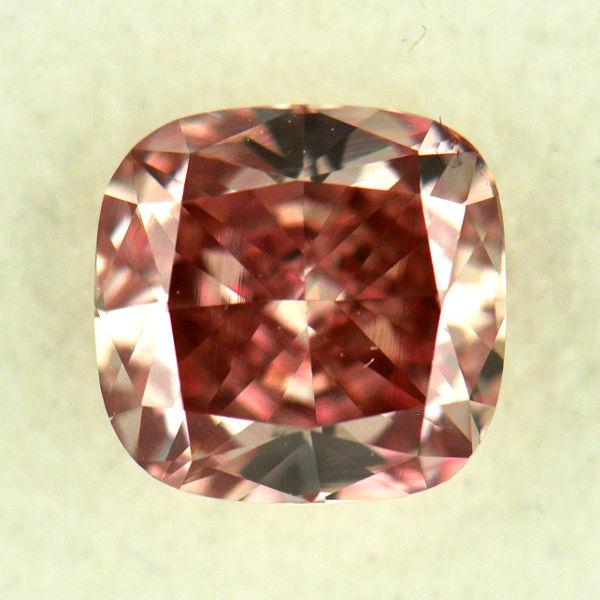 Fancy Intense Orangy Pink Diamond, Cushion, 0.62 carat, VS2
