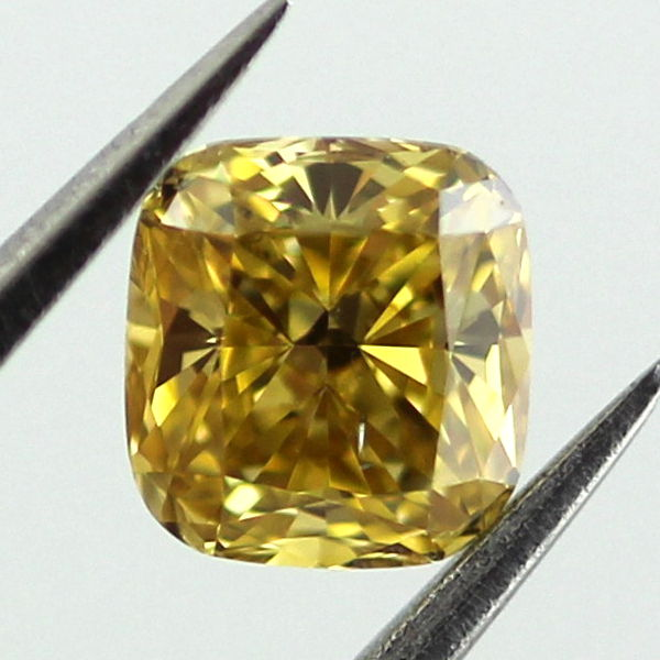 Fancy Intense Orangy Yellow Diamond, Cushion, 0.51 carat, SI1