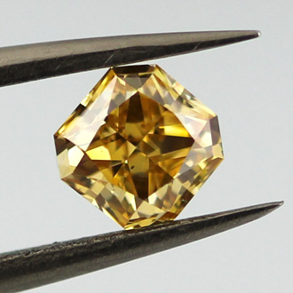 Fancy Intense Yellow Orange Diamond, Radiant, 0.70 carat